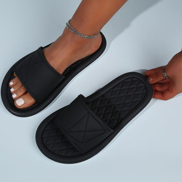 Open Toe Stitch Detail Slides, Black