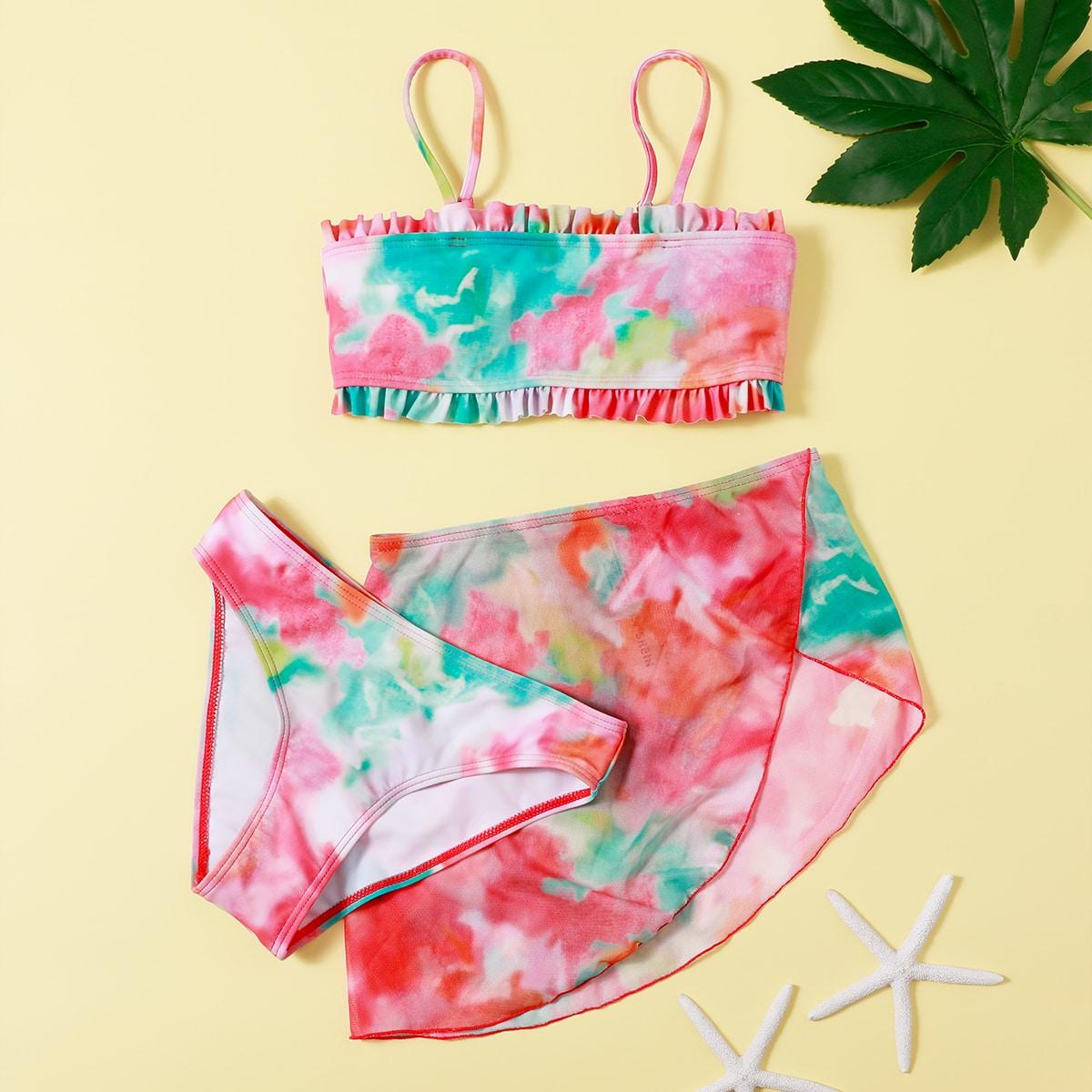 SHEIN / 3pack Girls Tie Dye Bikini Swimsuit & Beach Skirt