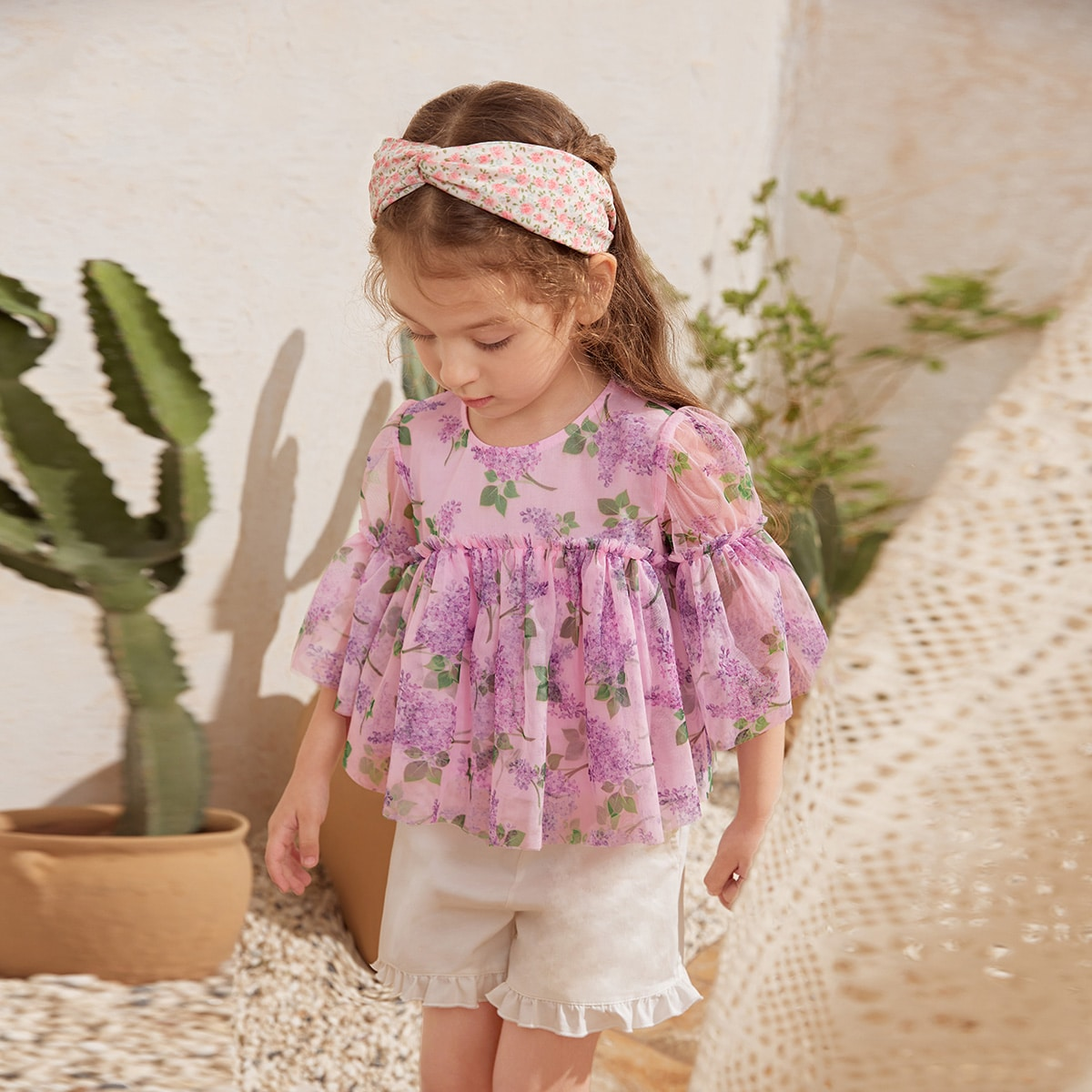 Toddler Girls Frill Trim Floral Print Top, SHEIN  - buy with discount