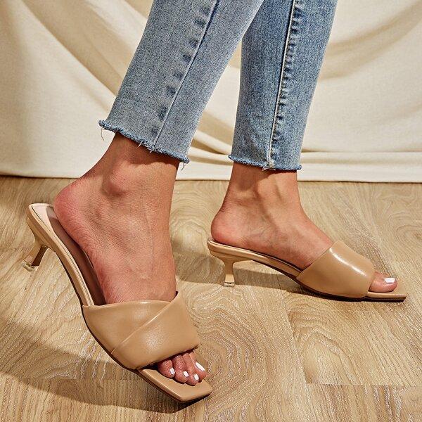 Open Toe Kitten Heeled Mule Sandals, Khaki
