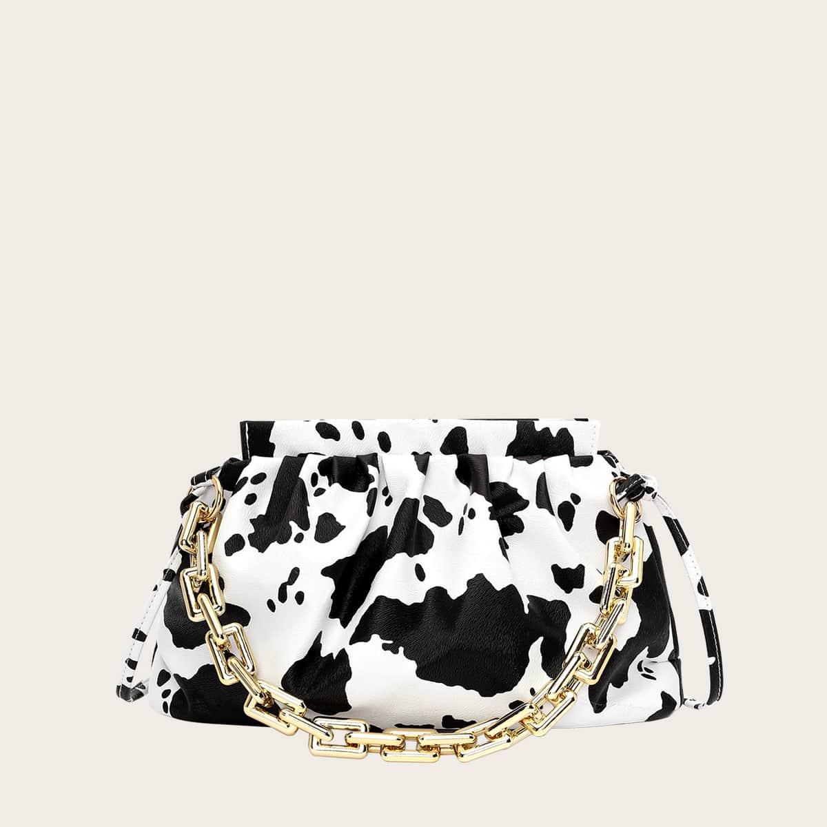 Tasche mit Kette Dekor und Kuh Muster