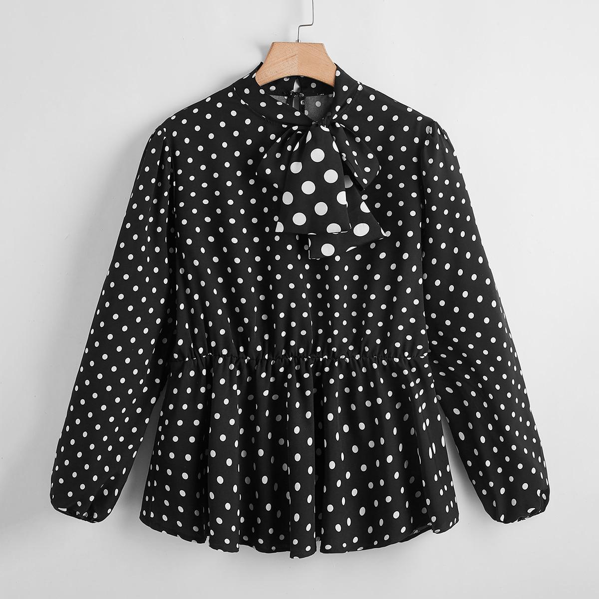 С оборками В горошек Повседневный Блузы размер плюс по цене 693