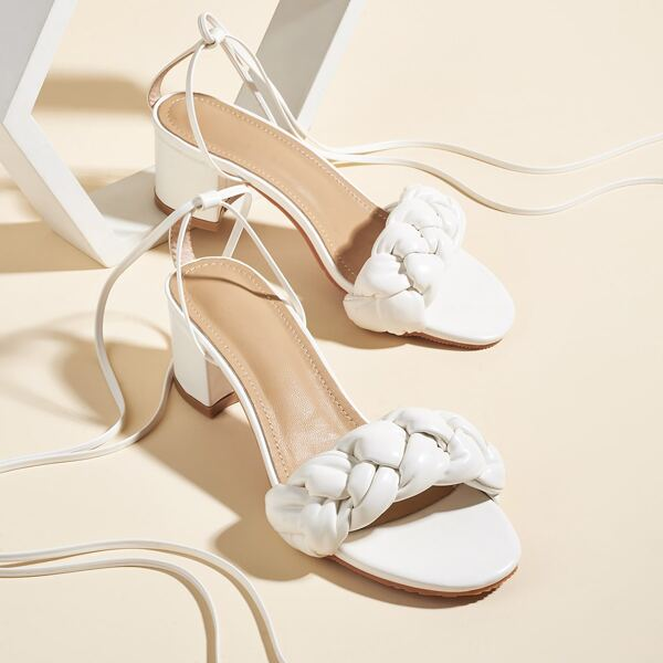 Woven Band Tie Leg Chunky Heeled Sandals, White