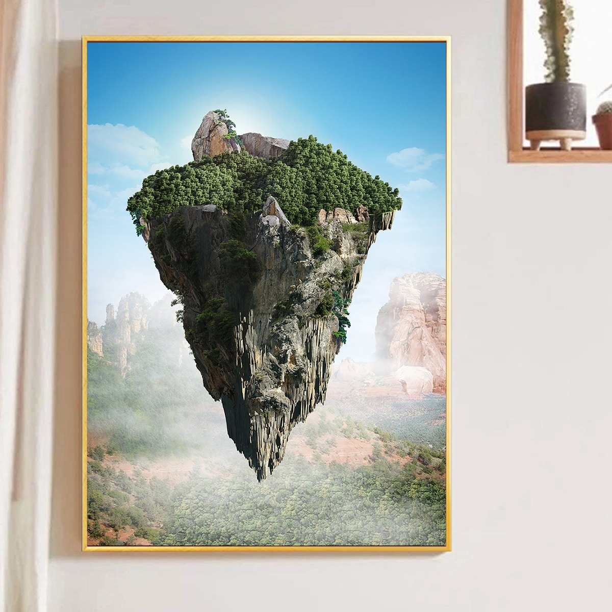 Mountain Print Unframed Painting, SHEIN  - buy with discount
