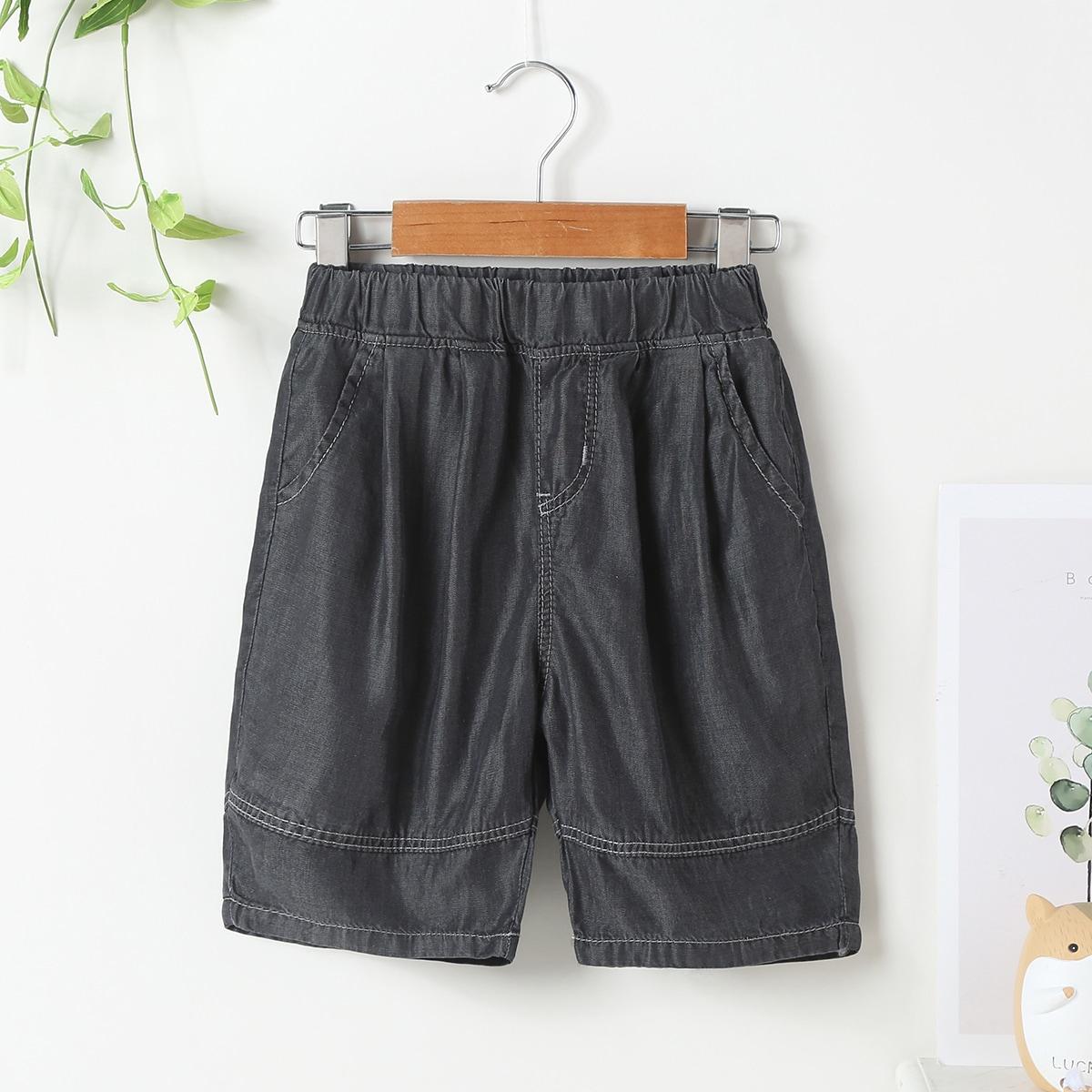 Для мальчиков джинсовые шорты с эластичной талией с карманом