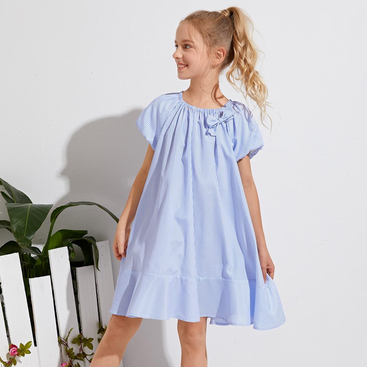 Babydoll Kleid mit Streifen Muster und Schleife vorn