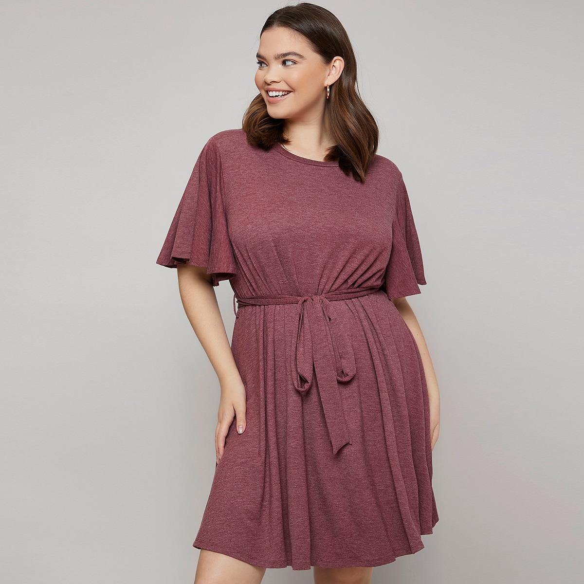 Оригинальное платье размера плюс с поясом по цене 1 330