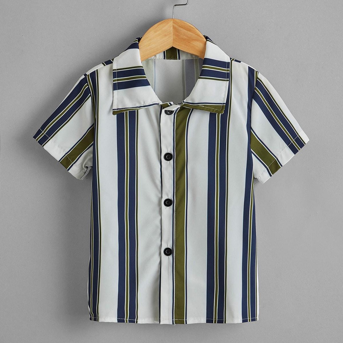 Пуговица Полосатый Повседневный Рубашки для мальчиков по цене 430