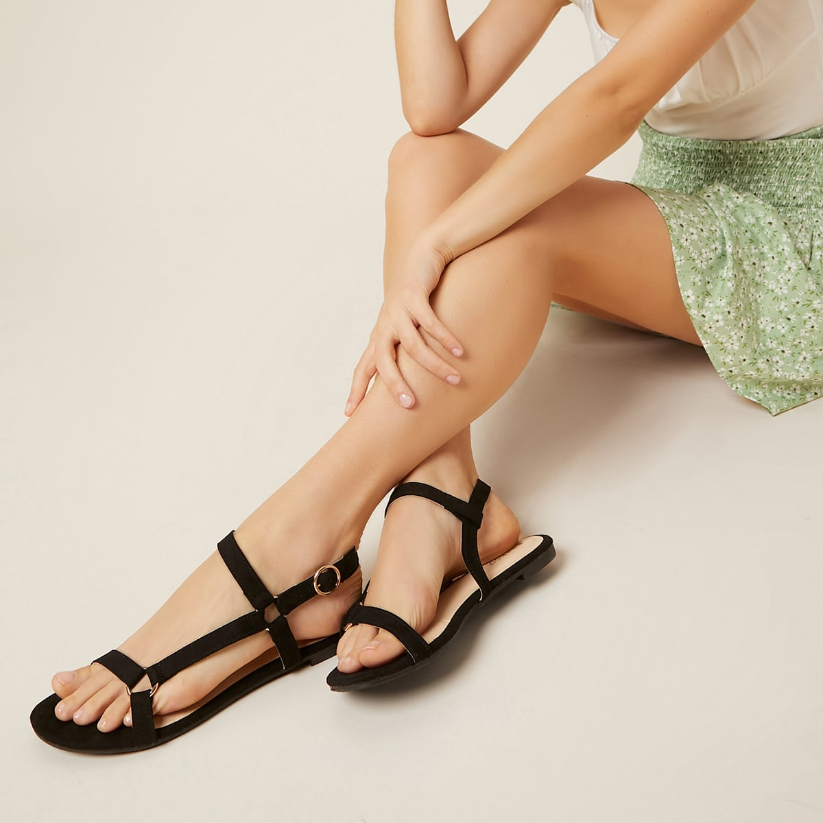 SHEIN / Faux Suede O-Ring Buckle Sandals