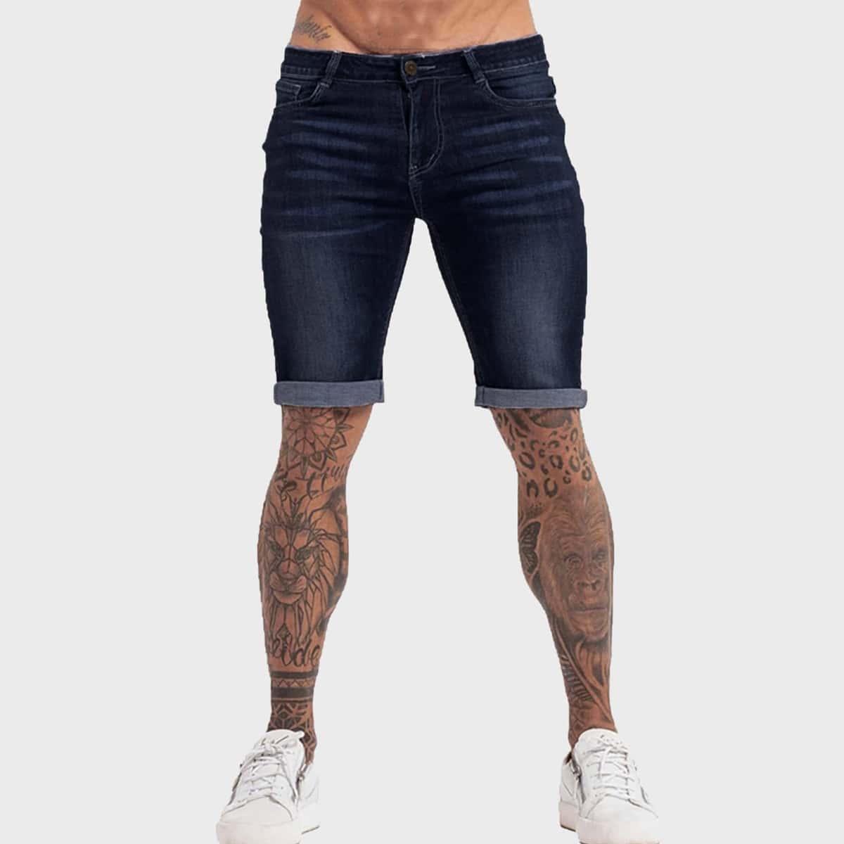 Карман Одноцветный Мужские джинсовые шорты по цене 1 610