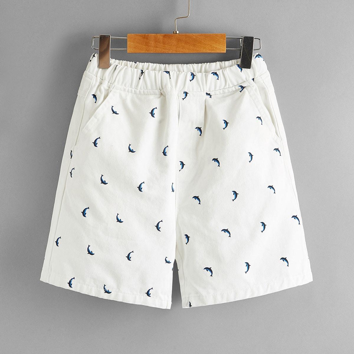 Shorts mit Delfine Muster