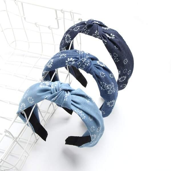3pcs Flower Print Knot Decor Headband, Multicolor
