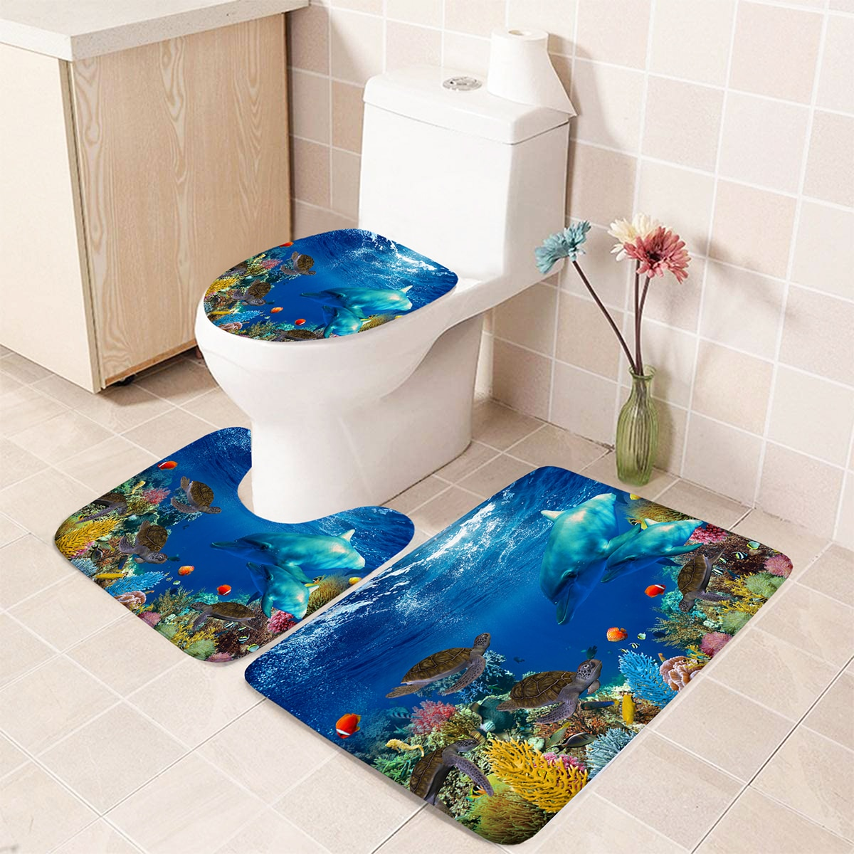 1 Stück Closestool Anti-Rutsch-Matte mit Meereslebewesen Muster