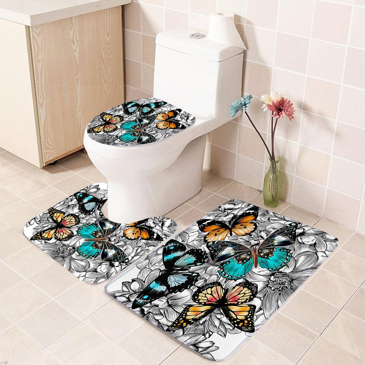 1 Stück Closestool Anti-Rutsch-Matte mit Schmetterling Muster