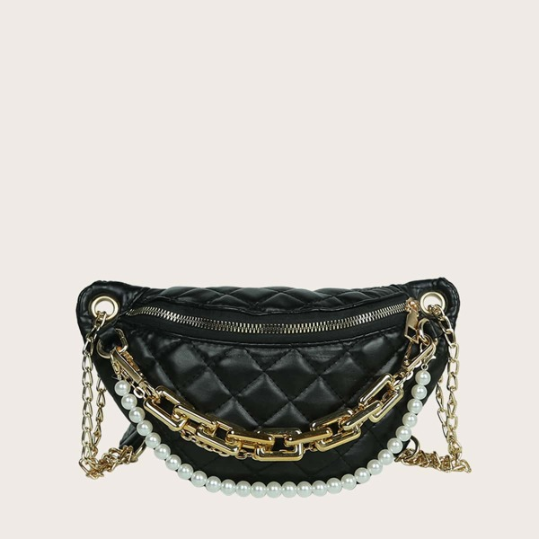 Faux Pearl Decor Quilted Fanny Pack, Black