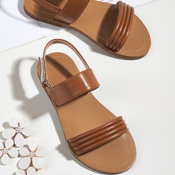 Toddler Girls Velcro Strap Slingback Sandals, Brown