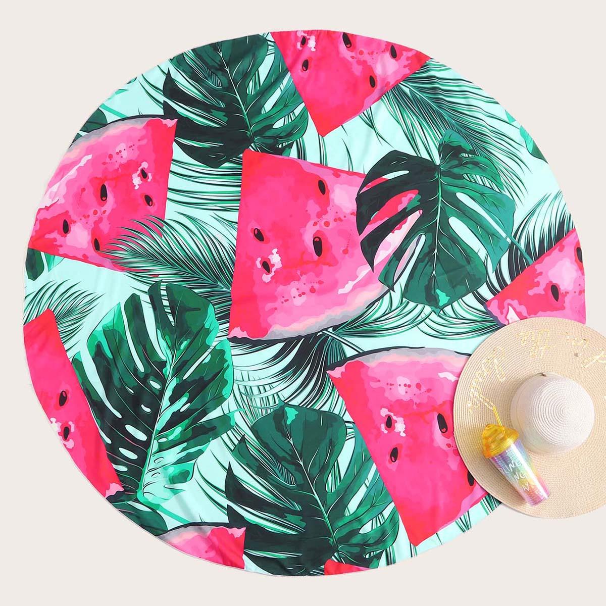 Пляжное одеяло с узором арбуза и тропическим принтом по цене 610