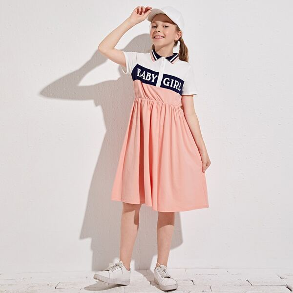 Girls Contrast Collar Letter Graphic Colorblock Polo Dress, Coral pink