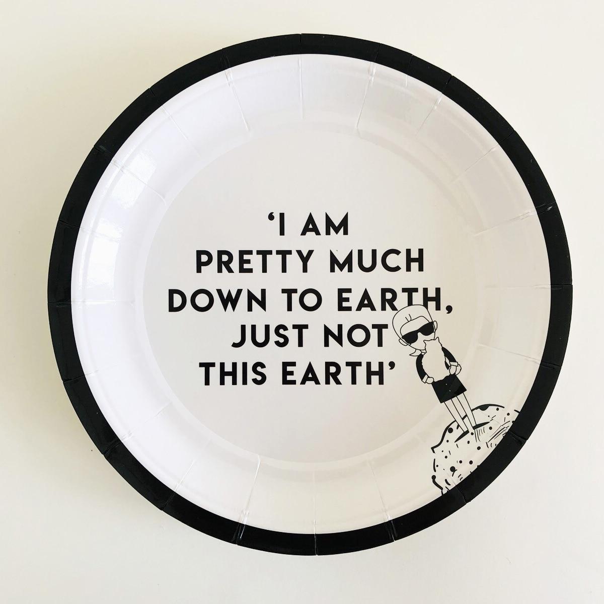 8шт одноразовая тарелка с текстовым принтом