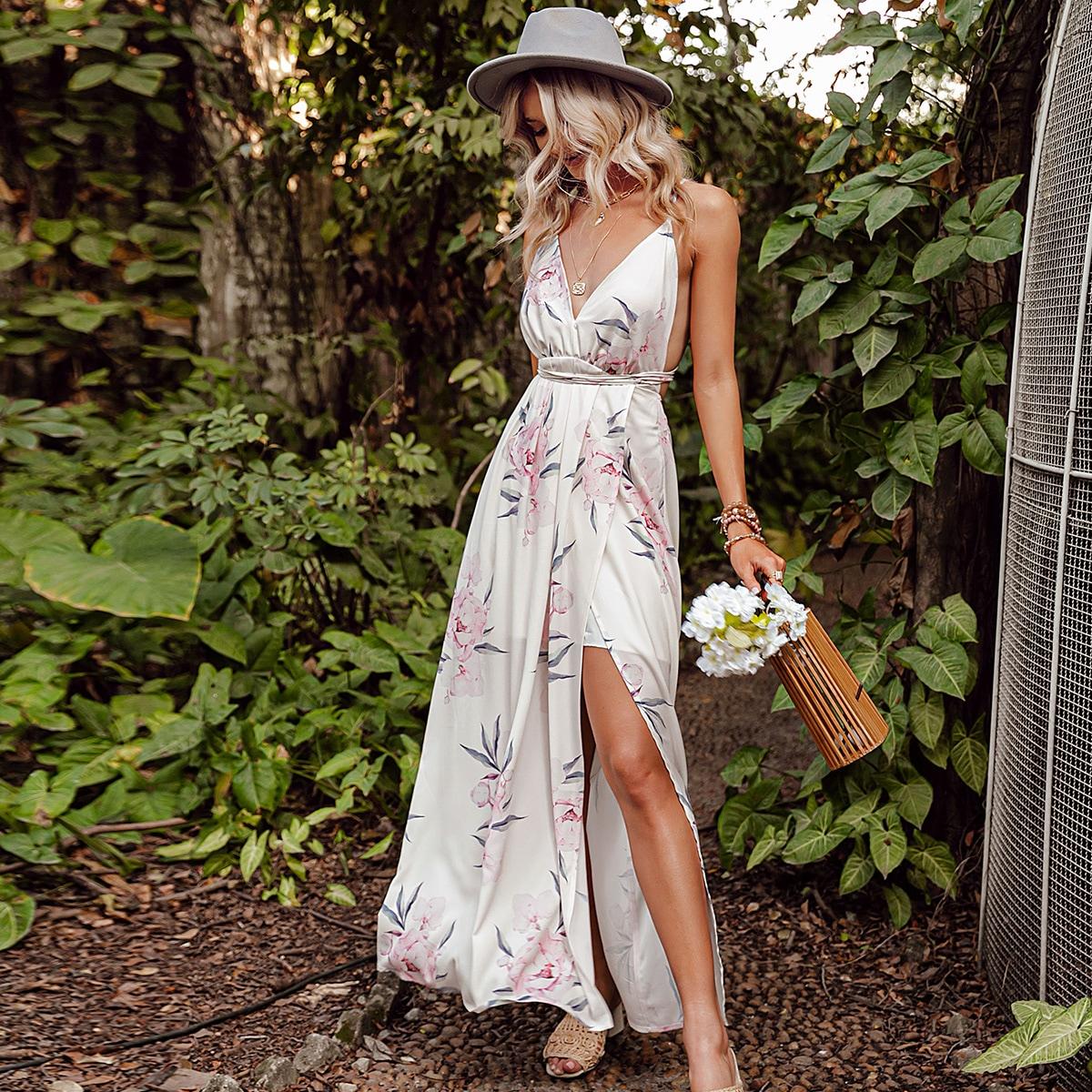 Платье на бретелях с цветочным принтом по цене 1 440