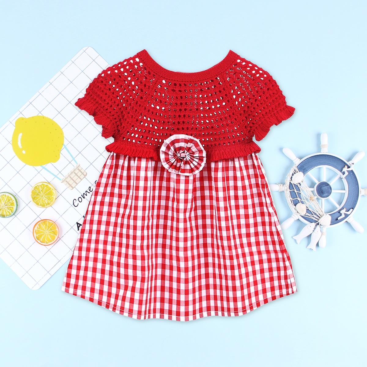 Оборка Клетка милый Трикотажные платья для девочек по цене 760