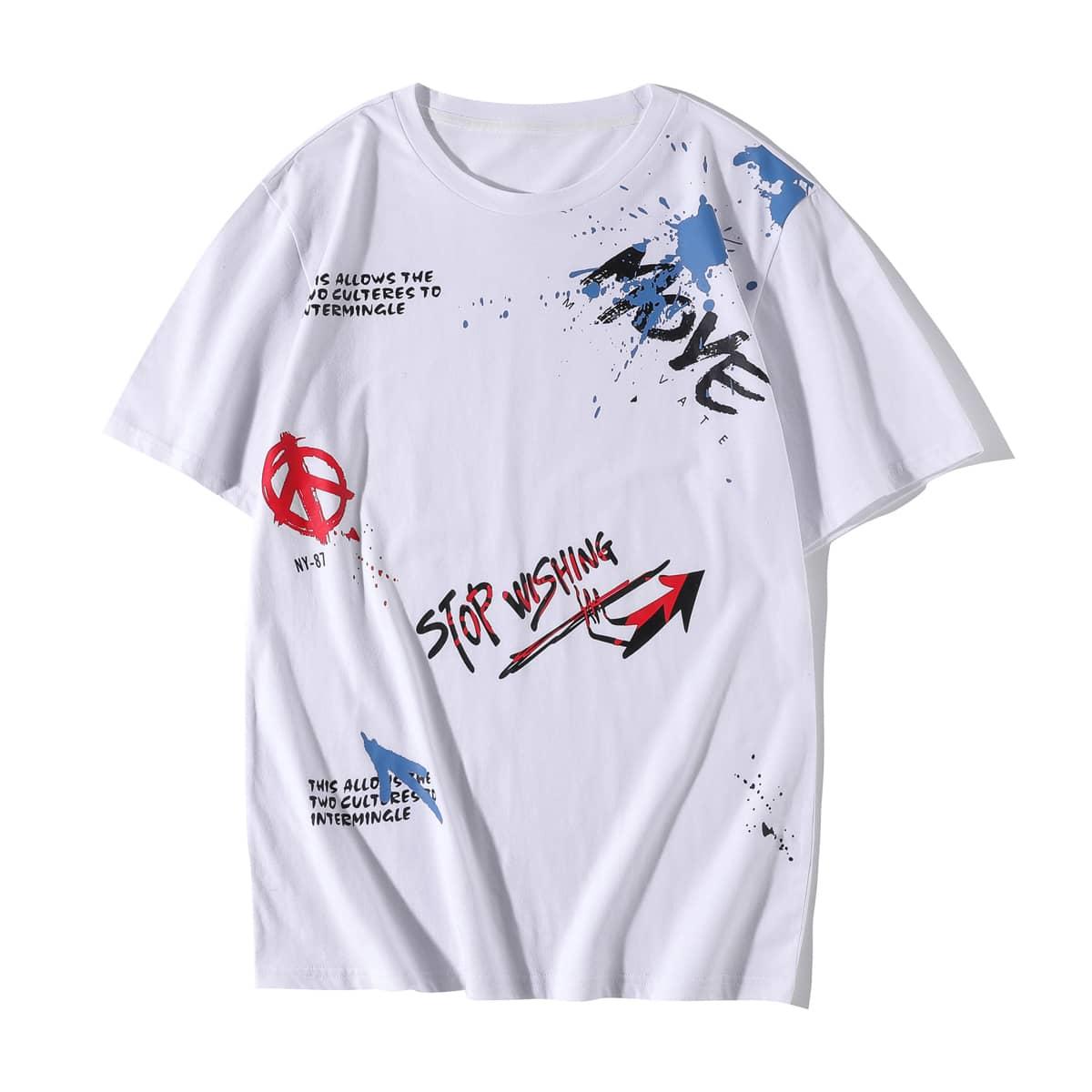 Hombres Camiseta con slogan & con estampado de flecha