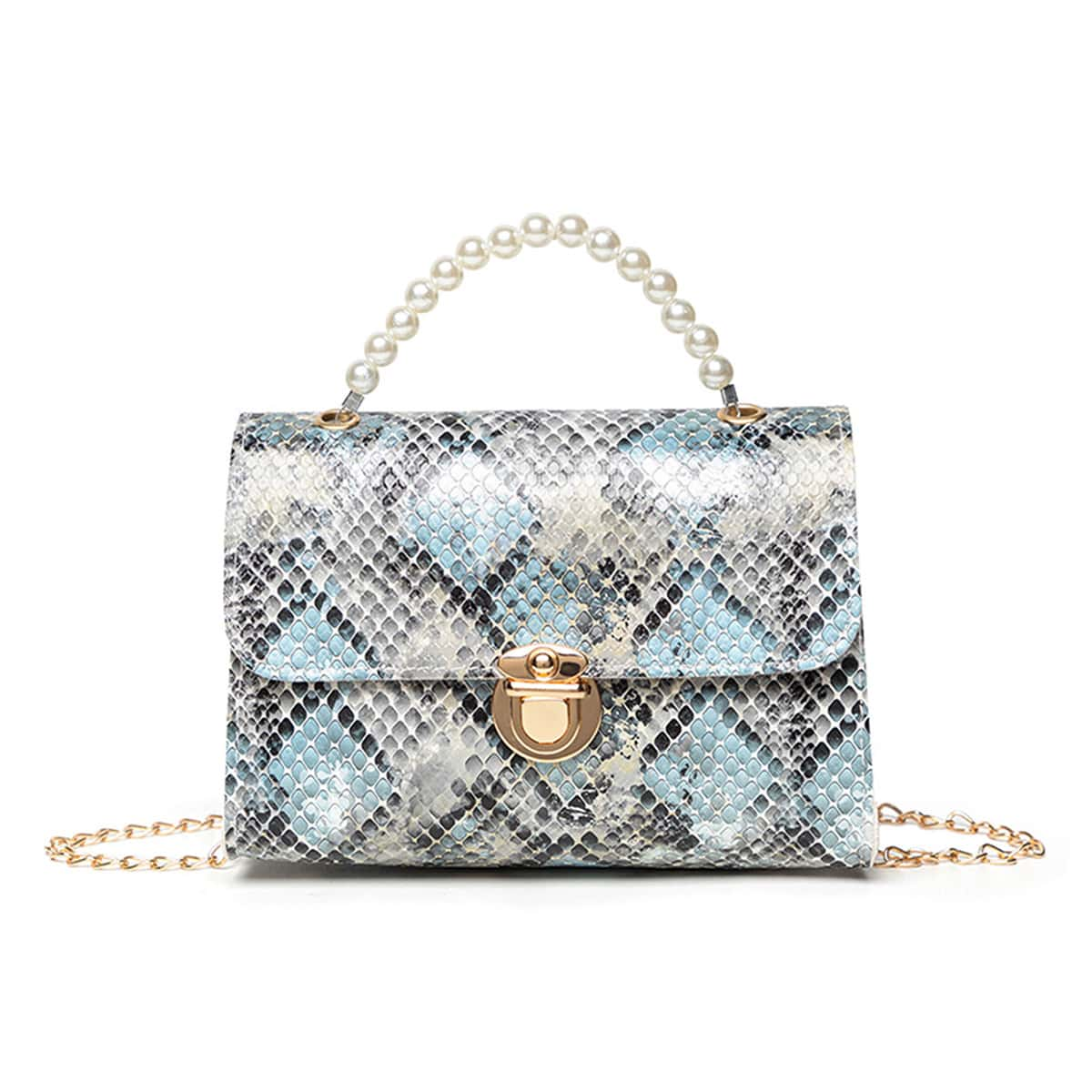 SHEIN / Faux Pearl Beaded Snakeskin Print Chain Satchel Bag