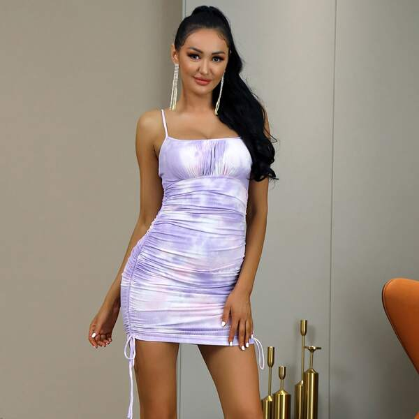 Tie Dye Drawstring Side Cami Bodycon Dress, Multicolor