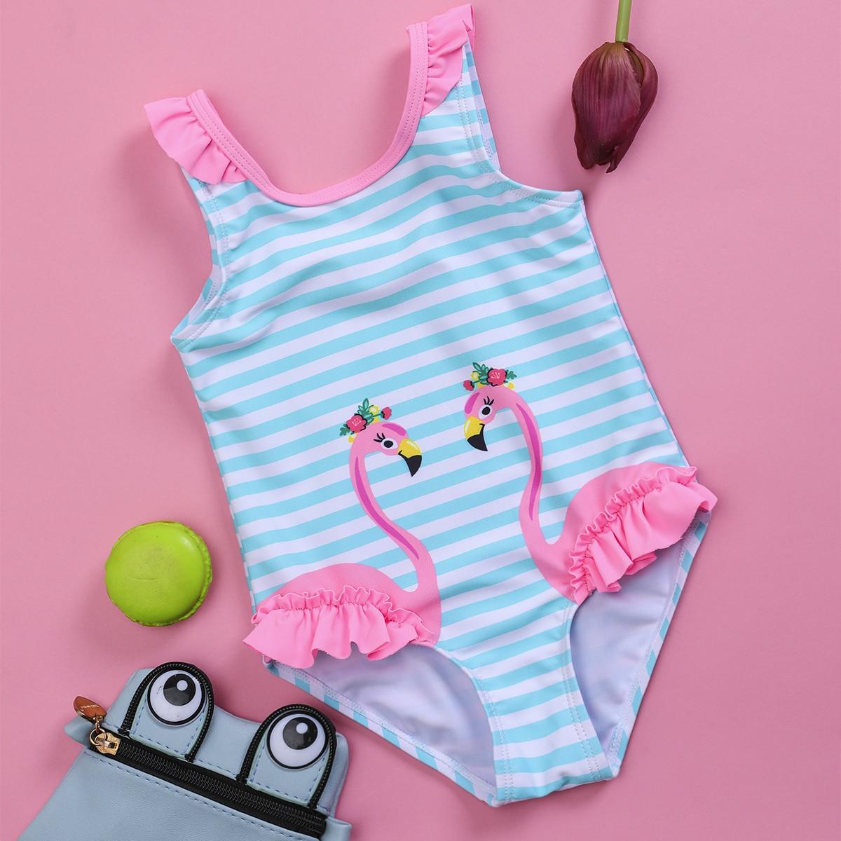 Слитный купальник в полоску с принтом фламинго для девочек по цене 660