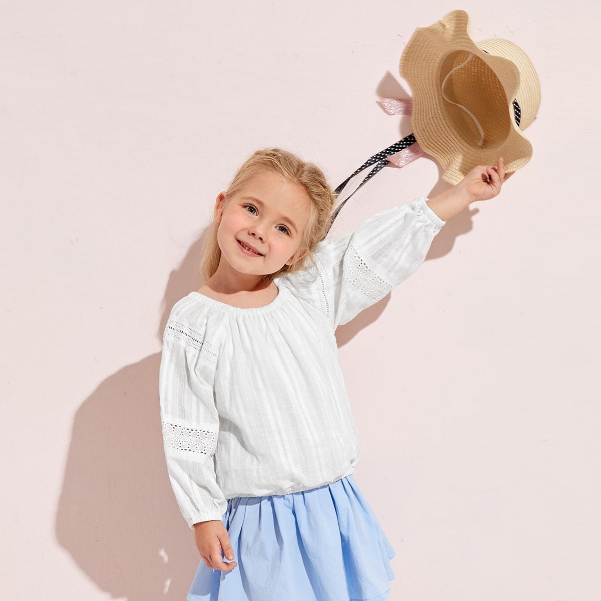 Ажурная вышивка одноцветный бохо блузы для девочек