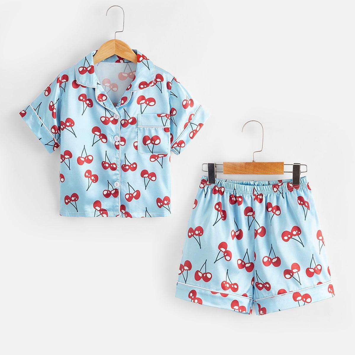 с карманами Фрукты и овощи милый Домашняя одежда для девочек