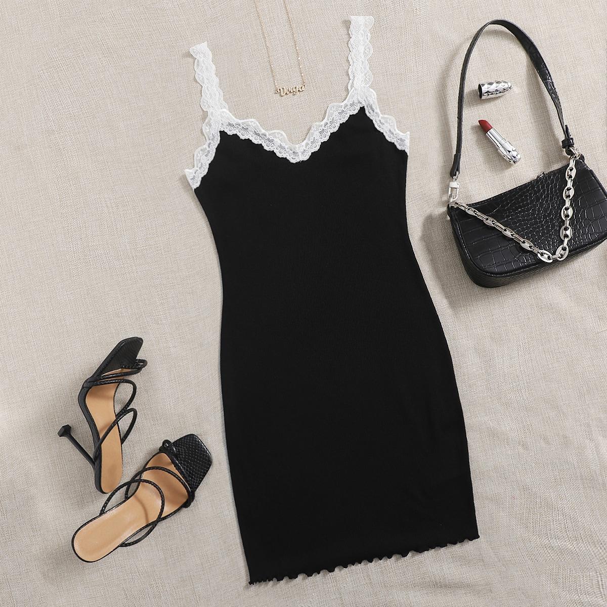 Контрастные кружева Контрастный цвет Повседневный Платье по цене 460