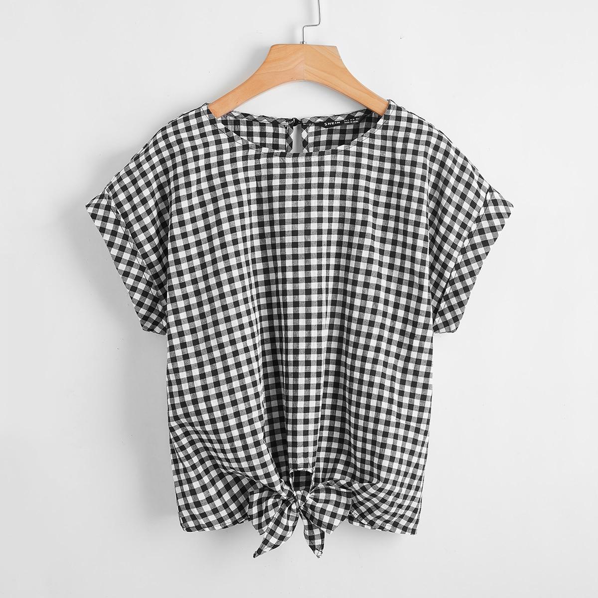 Пуговица Клетка Повседневный Блузы по цене 380