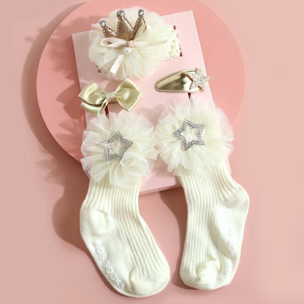 3pcs Baby Bow Knot Decor Hair Accessory & 1pair Socks, Beige