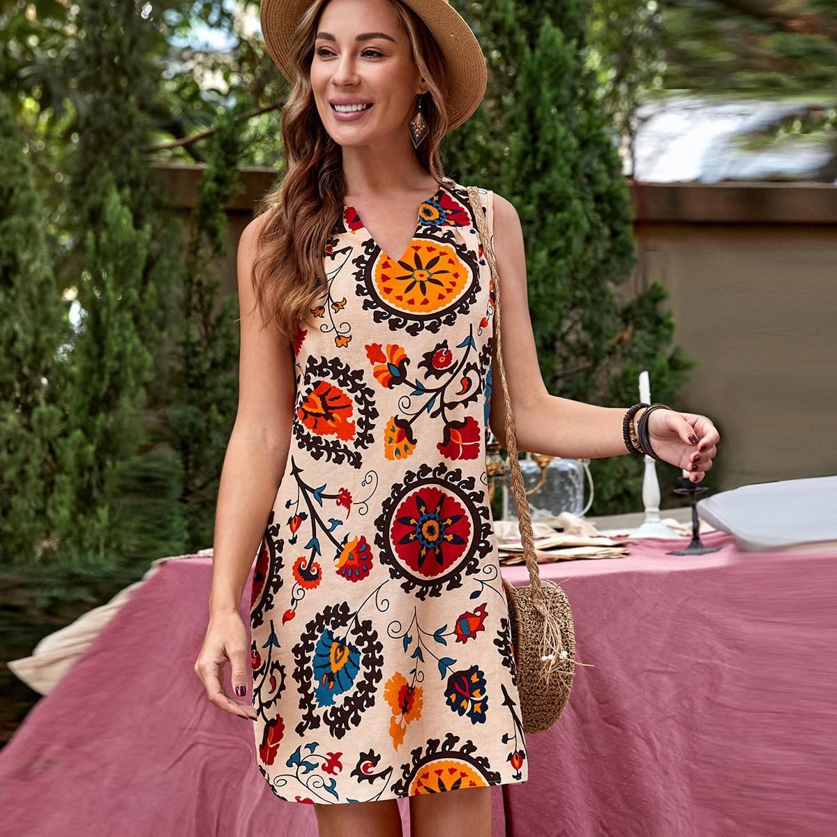 Цветочный принт Бохо Платье по цене 860