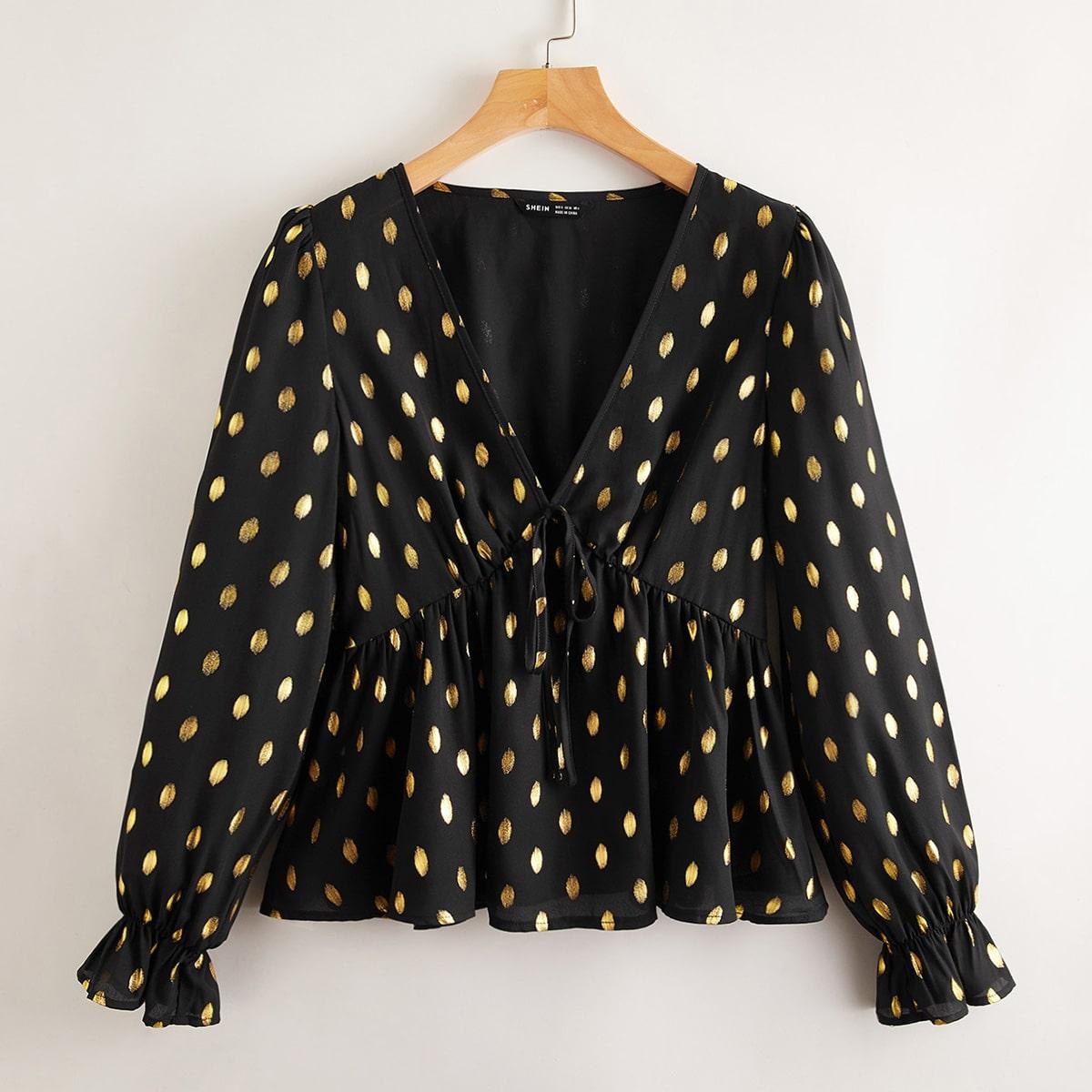 с оборками Принт Элегантный Блузы по цене 666