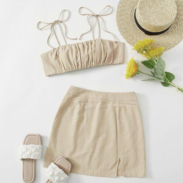 Knot Shoulder Tie Back Ruched Bust Crop Cami Top & Split Hem Skirt Set, Beige
