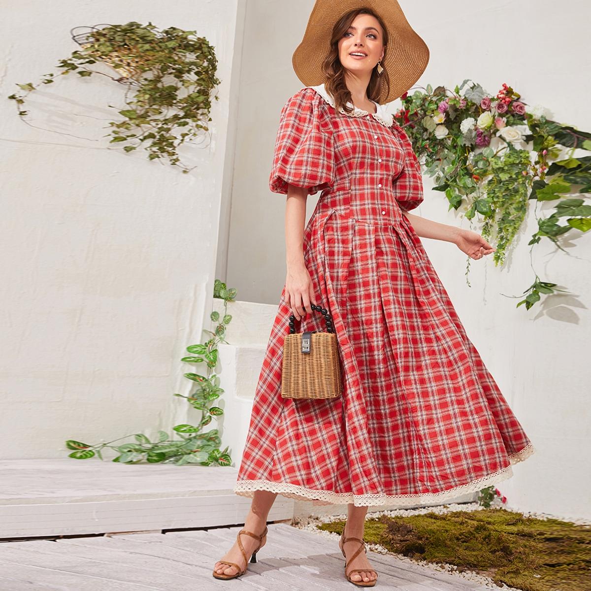 Платье в клетку с узлом сзади и кружевной отделкой SheIn swdress07210130975