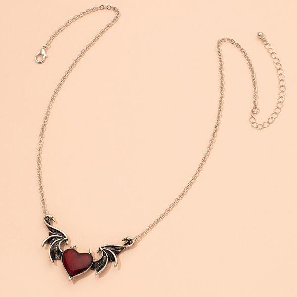Heart Pendant Necklace, Antique silver