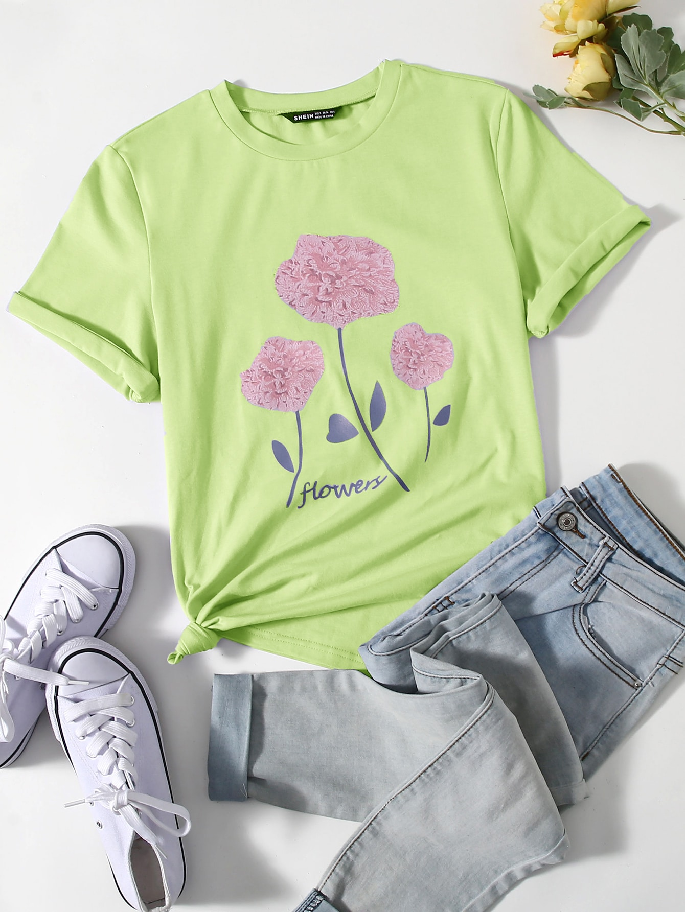 Round Neck Letter & Floral Graphic Tee