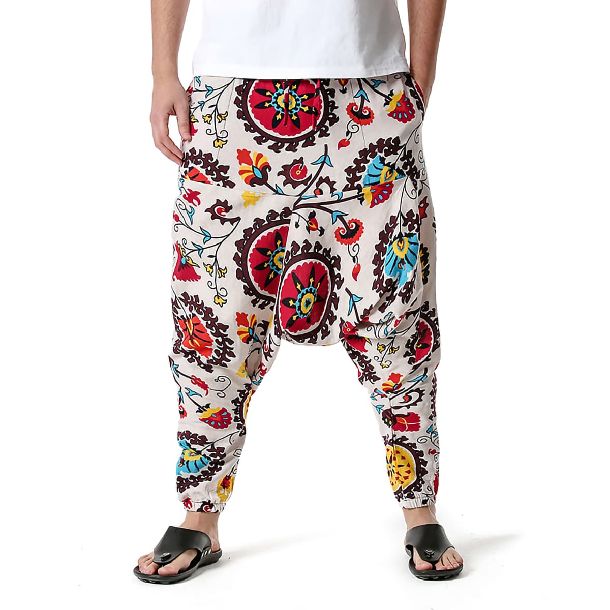Men Allover Print Pocket Harem Pants, SHEIN  - buy with discount