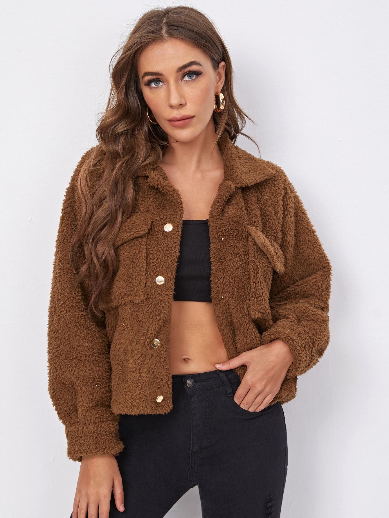teddy flap pocket raglan sleeve jacket