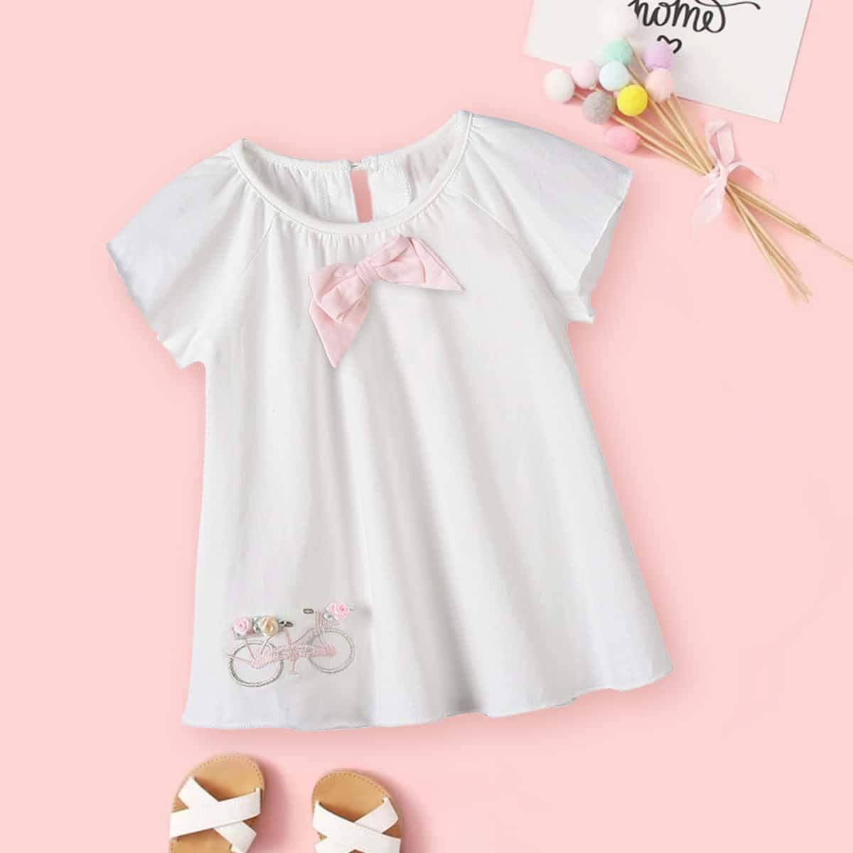 с вышивкой Со цветочками Топы для малышей