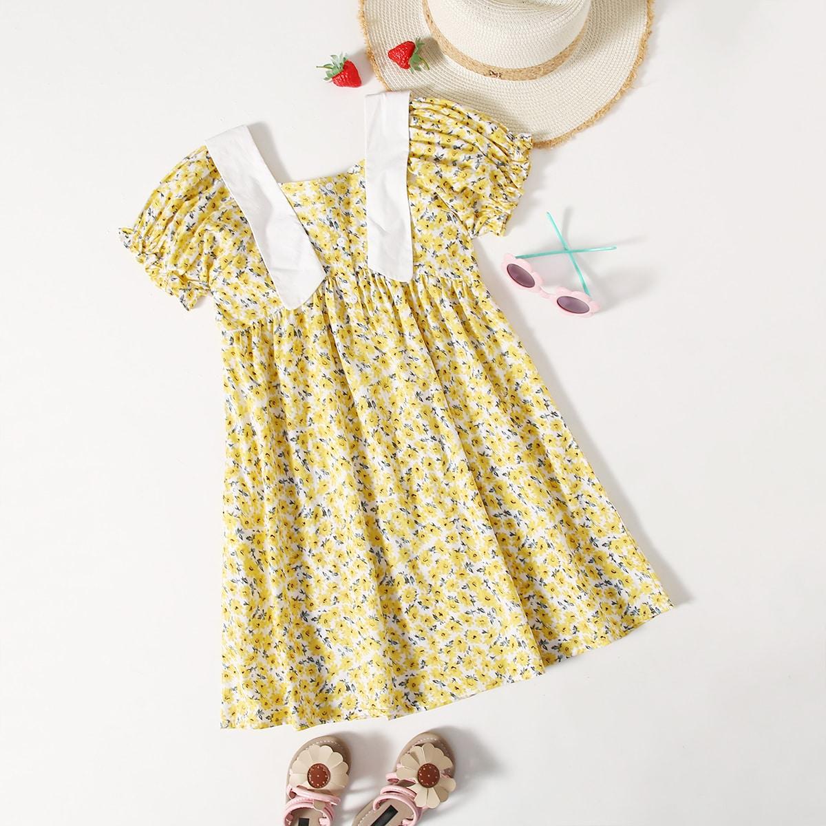 Kleid mit Puffärmeln, Blümchen Muster und Falten