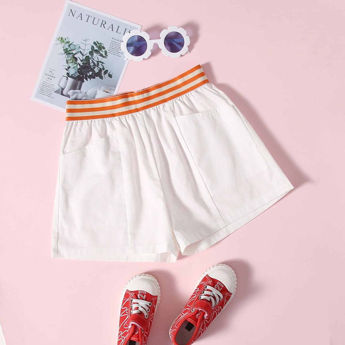 Карман полосатый спортивный шорты для девочек