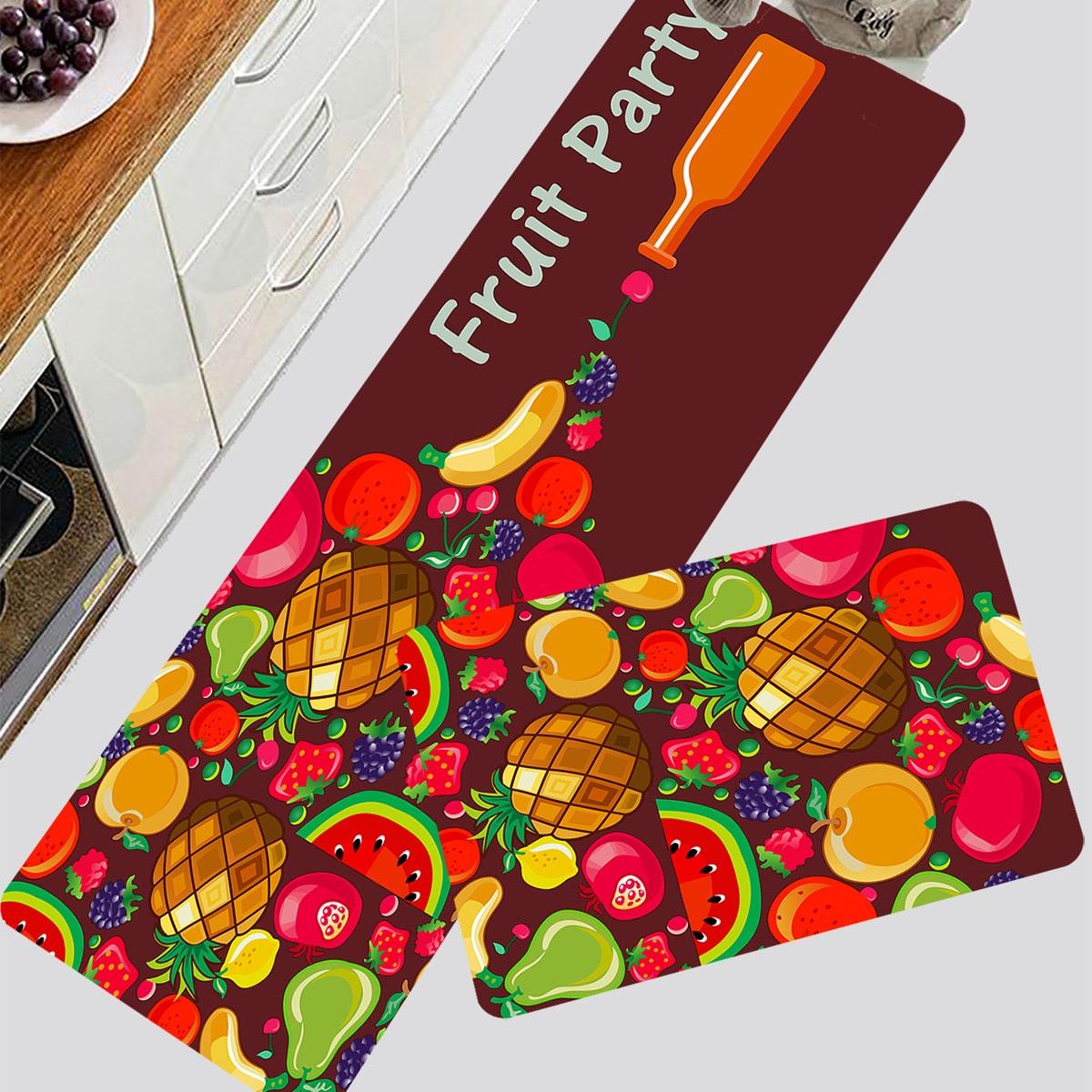 1 Stück Küchenteppich mit Obst Muster