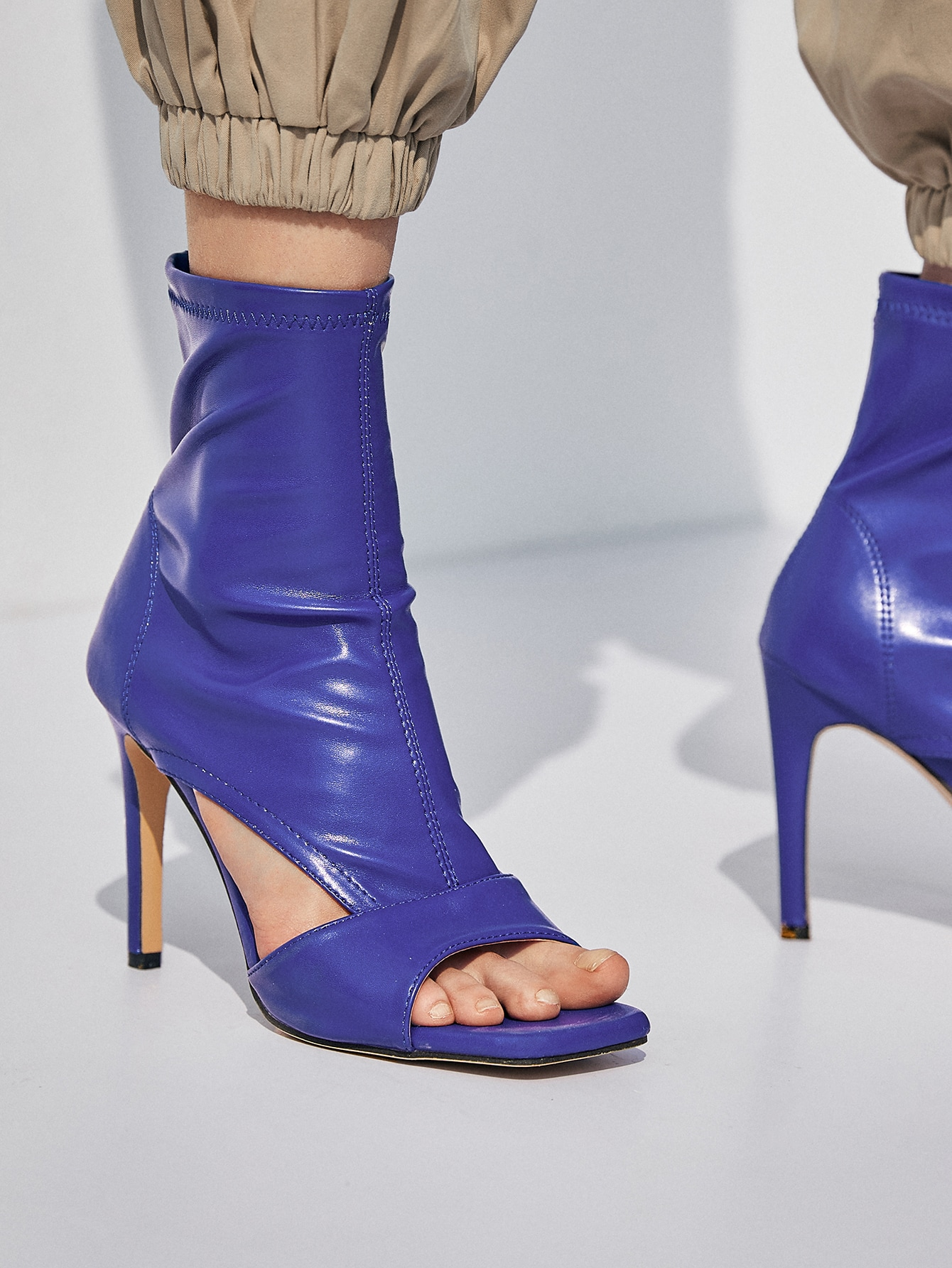 Open Toe Cut-Out Stiletto Ankle Boots