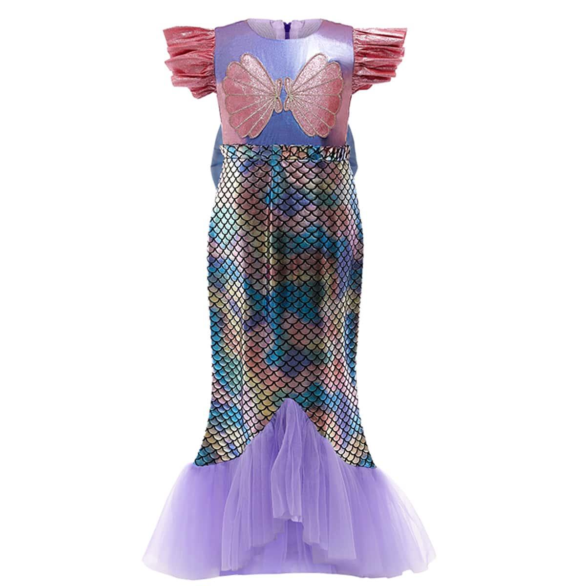С оборками принт рыбьей чешуи очаровательный нарядное платье для маленьких девочек