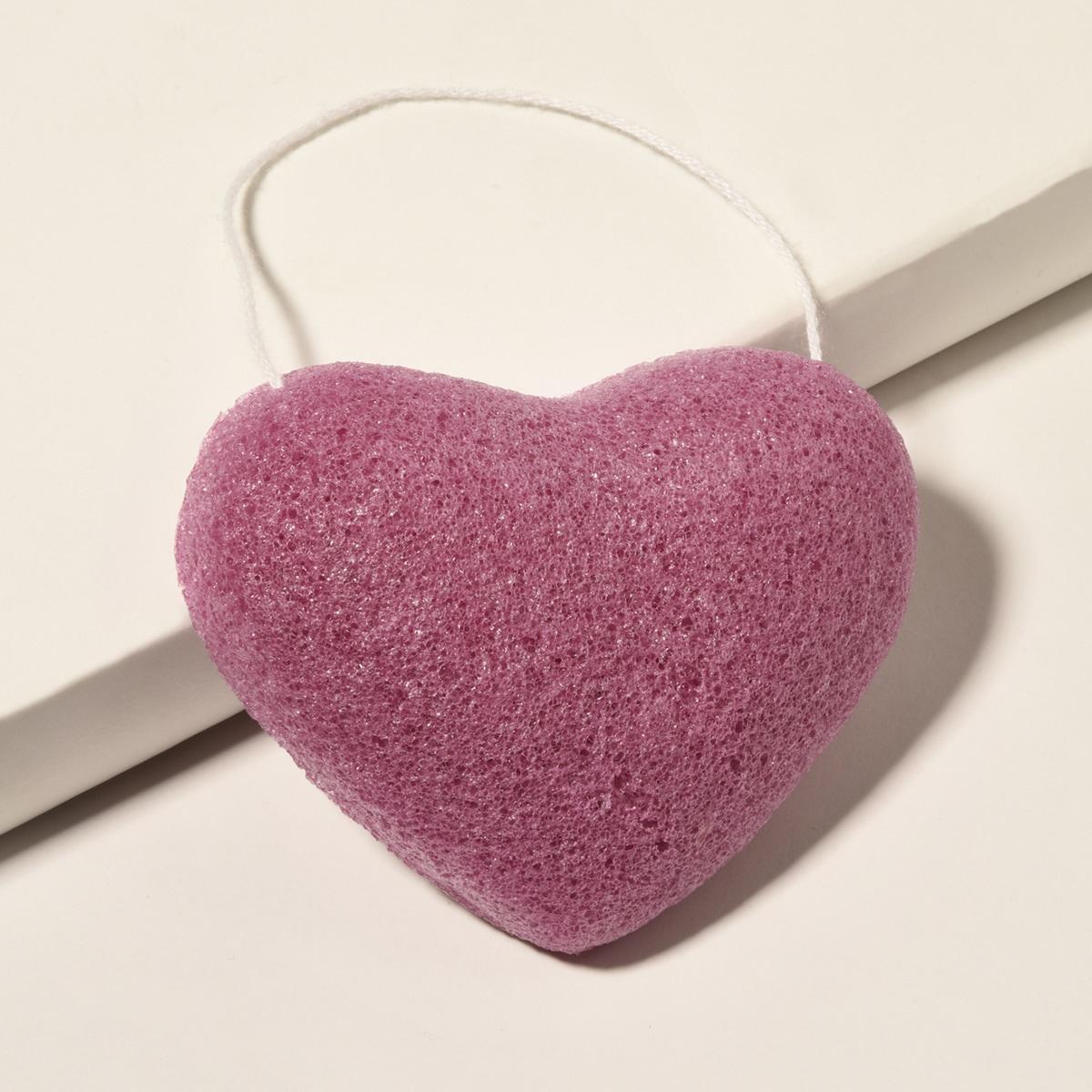 Губка для очищения лица в форме сердечка