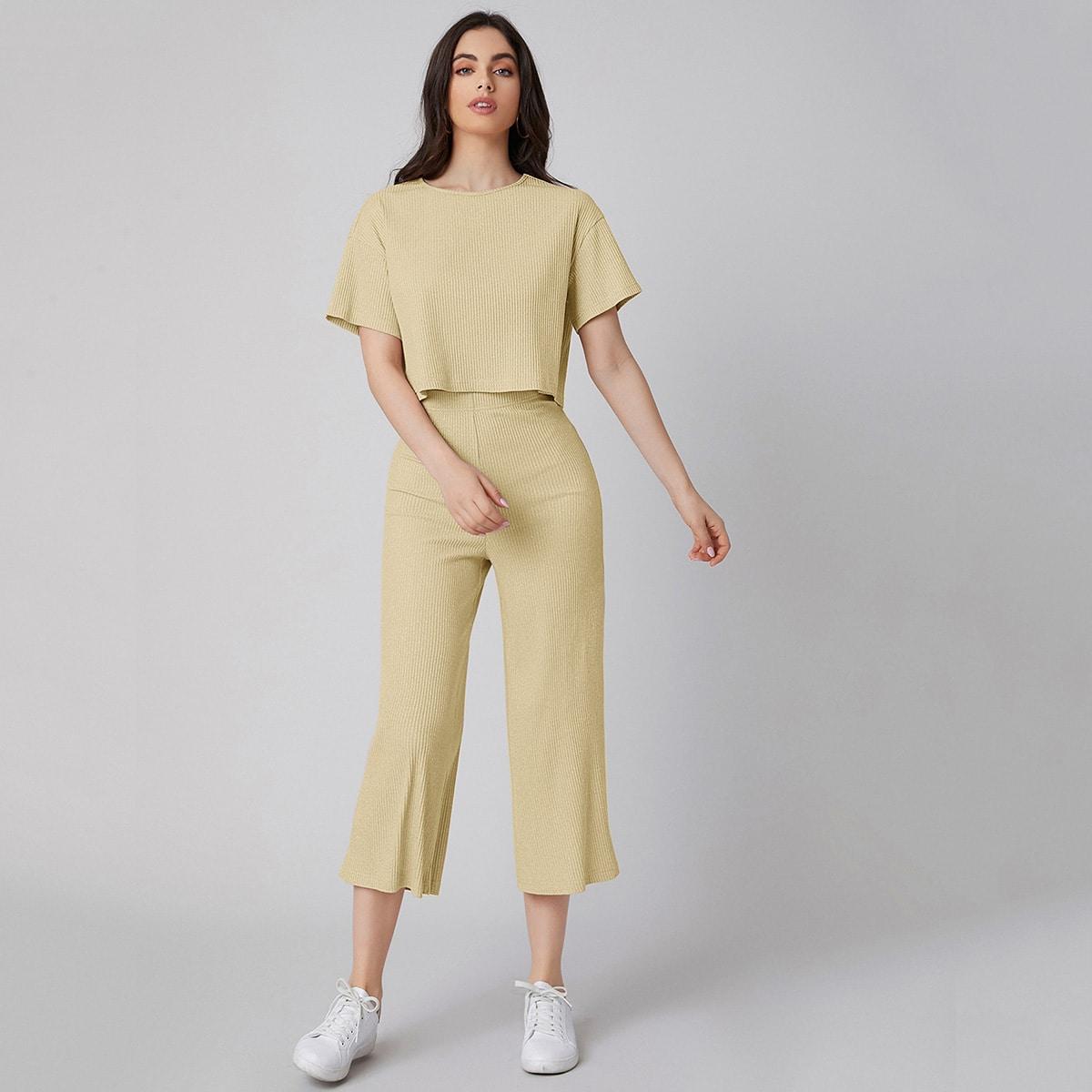 Drop Shoulder Strick Top & Capris Hose Set